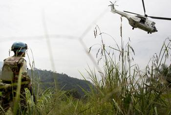 A Uruguayan peacekeeper with UN Organization Stabilization Mission in the Democratic Republic of the Congo (MONUSCO).
