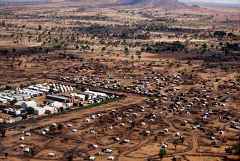 An aerial view of the African Union-United Nations Mission in Darfur (UNAMID) Khor Abeche camp for internally displaced persons (IDPs) in South Darfur, Sudan.