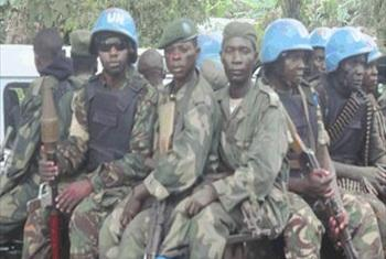 Beni territory, North Kivu, 26 October 2014: The Tanzanian troops of the MONUSCO Intervention Brigade and FARDC soldiers conducting a joint patrol in the fight against the Ugandan rebels of ADF. Photo by MONUSCO Force