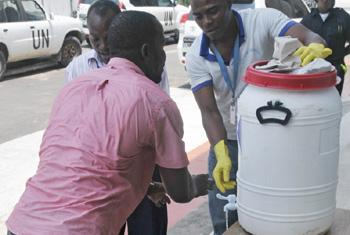 A hand-washing station outside UN offices in the Liberian capital city of Monrovia, assisting efforts to control and eradicate the Ebola virus outbreak.