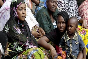 A view of internally displaced women and a child at the main mosque in Bangui.