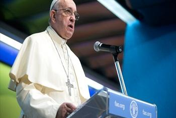 Pope Francis addresses the Second International Conference on Nutrition (ICN2) at FAO Headquarters in Rome.