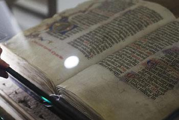 """An exhibition of manuscripts from the 13th century on the life of St. Francis of Assisi opened at UN headquarters on 17 November. Entitled """"Friar Francis: Traces, Words and Images"""". the exhibit will be on display at the UN through 28 November."""