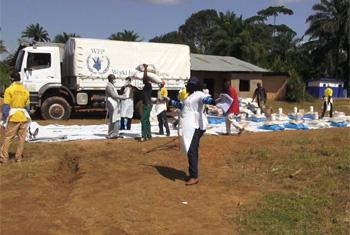 WFP food distribution in Sierra Leone. (WFP video capture)