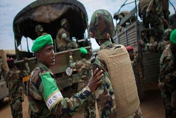 African Union soldiers serving in Somalia.