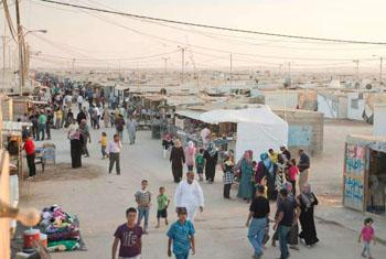 A scene from the crowded Za'atri refugee camp in Jordan hosting many Syrian refugees.