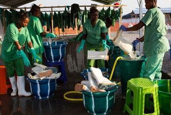 Ebola treatment centre in Maghuraka, Sierra Leone.