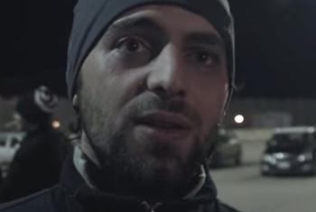 Mohammed, a Syrian refugee on board the Ezadeen Cargo Ship. (UNHCR video capture)