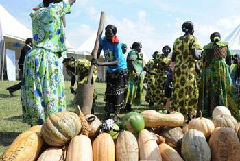 Two women double pound grain, or dura, using a large wooden mortar and two pestles in front of a display of various types and sizes of South Sudanese pumpkins.