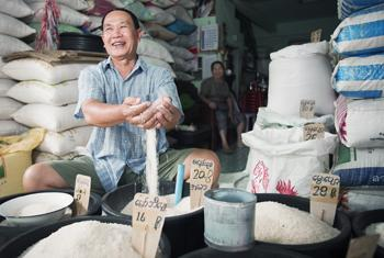 A local grain market in Tachilek, Myanmar.