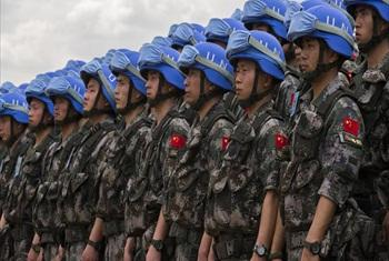 Welcoming ceremony for first detachment of China's peacekeeping infantry battalion to arrive in South Sudan.