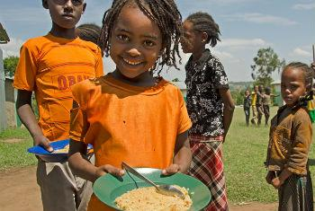 Lunchtime at a school in Ethiopia.