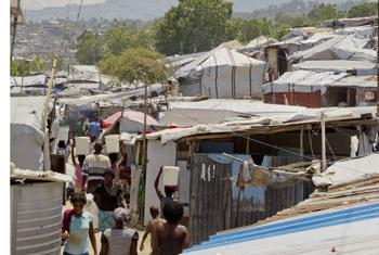 A camp in the Haitian capital Port-au-Prince where the worst of the flooding has happened.