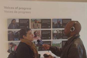 Josefina Maestu (left) is interviewed by Derrick Mbatha.