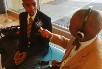 Victor Asiwe (left) interviewed by Derrick Mbatha.
