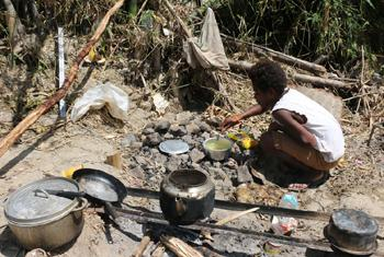 Many families affected by Tropical Cyclone Pam are forced to prepare their meals outdoors as seen here in Vanuatu.