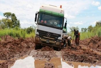 Truck stuck in the mud.