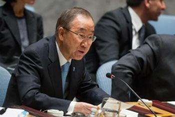 Secretary-General Ban Ki-moon, addressing the Security Council, urges return to two-State negotiations for Israel, Palestine.
