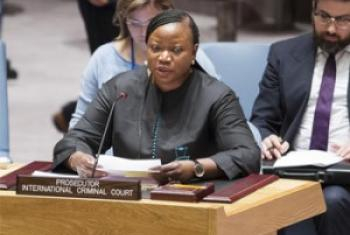 ICC Prosecutor Fatou Bensouda speaks before the Security Council (