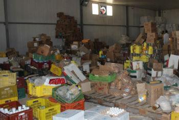 Humanitarian food assistance at the Zintan main food warehouse in the Nafusa Mountains, Libya.