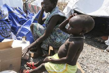 Displaced people in South Sudan. The country continues to endure a civil conflict which has pitted rebel forces against the government.