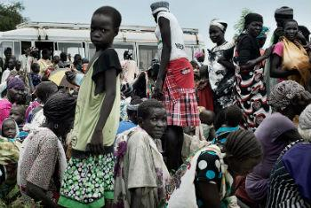 In Pathai, a settlement in Jonglei State, South Sudan, persons displaced by conflict await registration for food distribution. UNICEF File Photo/Jacob Zocherman