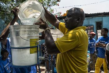 Water filter programme in Haiti.