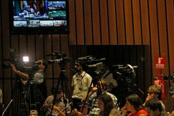The UN Economic Commission for Latin America and the Caribbean (ECLAC) holds a press conference at its headquarters in Santiago, Chile, to launch the Economic Survey of Latin America and the Caribbean 2015.