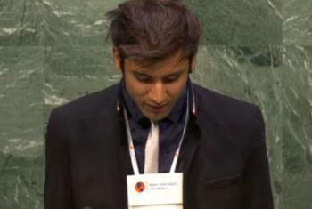 Siwathep Singh Khanderpor speaking at the Global Youth Forum on Multilingualism.