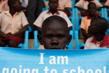 Children attend the launch of the Back to Learning campaign in Juba, the capital of South Sudan, earlier in February. File