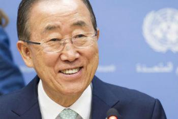 Secretary-General Ban Ki-moon addresses press conference in New York.