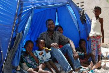 Family at the Fond Bayard school in Fond Parisien near the Malpasse border after returning from the Dominican Republic.