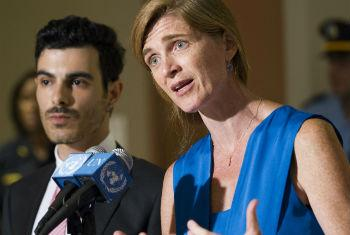 Samantha Power (right) and Subhi Nahas (left) speak to journalists, following an Arria-formula meeting on the plight of LGBT persons around the world, especially in the Middle East.
