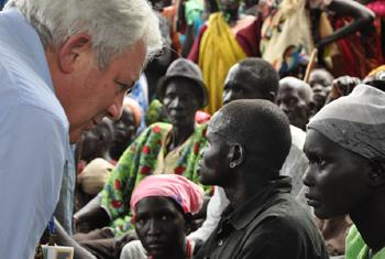 In Nyal, South Sudan, several displaced women and men met with Mr. O'Brien and shared harrowing testimonies from their journeys as they fled violence.