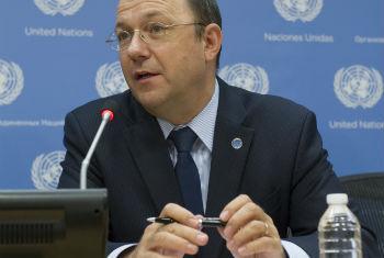 Thomas Gass speaking to the press. UN File Photo/Yubi Hoffmann