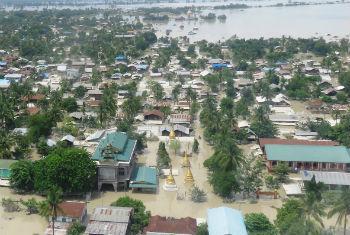Floods in Kale Township, Sagaing Region of Myanmar.