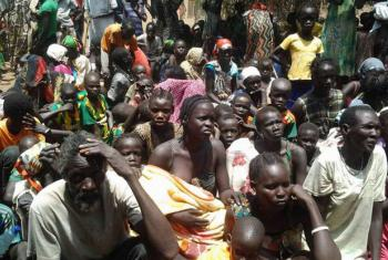 South Sudanese refugees wait to be registered at a crossing into Ethiopia earlier in 2015.