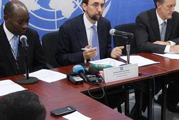 UN High Commissioner for Human Rights Zeid Ra'ad Al Hussein (centre) addresses press conference in Bangui, Central African Republic (CAR).