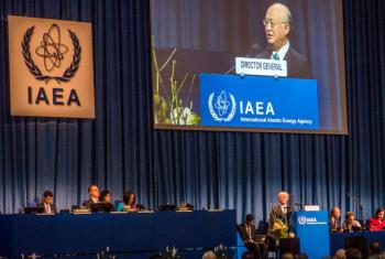 International Atomic Energy Agency (IAEA) Director General Yukiya Amano at the IAEA's 59th General Conference in Vienna, Austria.