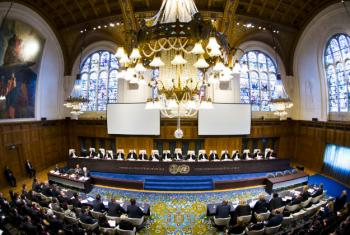 View of the ICJ Courtroom in The Hague.