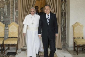 SG meets with Pope Francis in the Vatican in April 2015. UN File Photo/Mark Garten