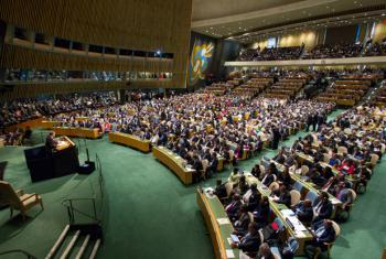 A view of the General Assembly Hall as Secretary-General Ban Ki-moon presents his annual report on the work of the Organization to the Assembly.