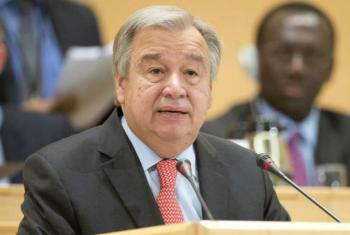 António Guterres, the UN High Commissioner for Refugees makes his opening speech at UNHCR's 66th session of the Executive Committee on 5th October 2015.