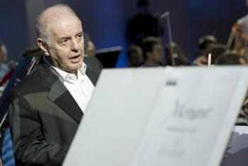 Conductor Daniel Barenboim rehearsing for a concert ahead of World Human Rights Day at the UN in Geneva.