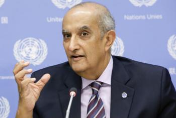 Maged Abdelaziz, the Secretary-General's Special Adviser on Africa, addresses a press conference. UN File Photo/Evan Schneider