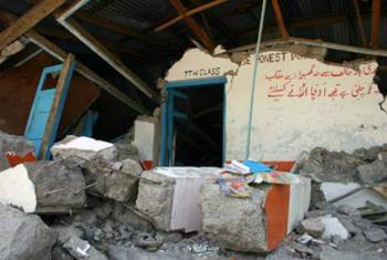 Devastation at a school in Pakistan caused by an earthquake in 2005.