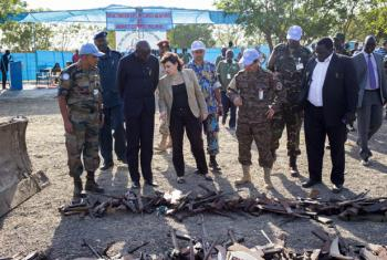 The UN Mission in South Sudan (UNMISS) and the UN Mine Action Service (UNMAS) destroyed weapons and ammunition recovered from civilians seeking refuge in the UNMISS base in Malakal, Upper Nile State. UN File Photo/JC McIlwaine