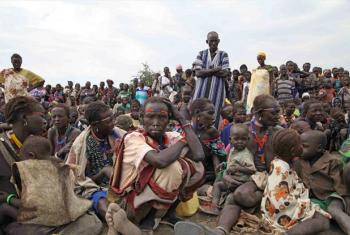 A crowd awaits food distribution at Pibor town, South Sudan.