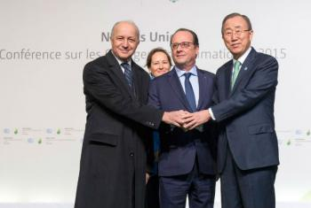 UN Secretary-General Ban Ki-moon, French President Franois Hollande, Foreign Minister Laurent Fabius and Ségolène Royal, Minister of Ecology, Sustainable Development and Energy of France, arrive at COP21 in Paris, France. 30 November 2015.