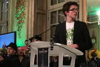 Felix Finkbeiner speaks at #1Heart1Tree event in Paris.